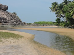 Shallow backwaters at Kaup beach