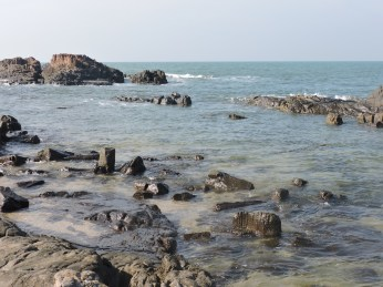 Basaltic rock formation at St. Mary's Island