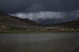 Mountains peaks all around-Dhankar lake